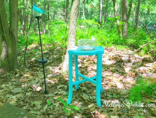 turquoise table in woods. be selfish with your energy
